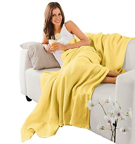 Erwin Müller Sommerdecke, Baumwolldecke - luftig-leicht, weiche Qualität, sehr angenehm - gelb Größe 150x200 cm - weitere Farben und Größen - 100% Baumwolle