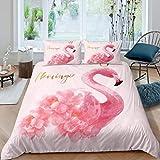 Feelyou Flamingo-Bettbezug mit tropischem Tiermuster, Bettbezug, rosa Blumenmuster, für Mädchen, Kinder, Frauen, Schlafzimmer, Dekoration, Mädchenhafte Blumen, Tagesdecke, Übergröße mit 1 Kissenbezug