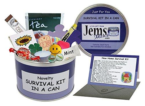 Survival Kit In A Can Lata para regalo divertido y novedoso, ideal para felicitar por una nueva casa, regalo y tarjeta todo en uno, personalizable, Purple/Lilac, Approx 10cm x 6cm