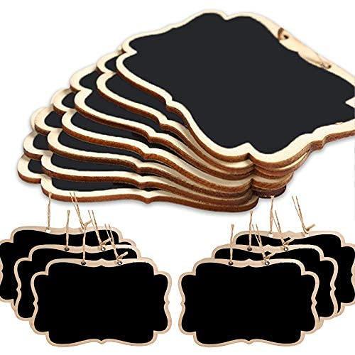Paquete de 15 mini etiquetas de pizarra de madera de doble cara, etiquetas de pizarra con cuerda para colgar letreros de masaje..