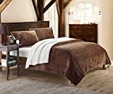 Chic Home 3-Piece Evie Plush Microsuede Sherpa Blanket, Queen, Brown