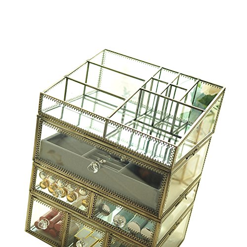 Hersoo Antique Spacious Mirror Glass Drawers/Brass Metal Cosmetic Makeup Storage/Jewelry Cube Organizer.Individually Use Non-Acrylic Display Dresser Vanity Tray