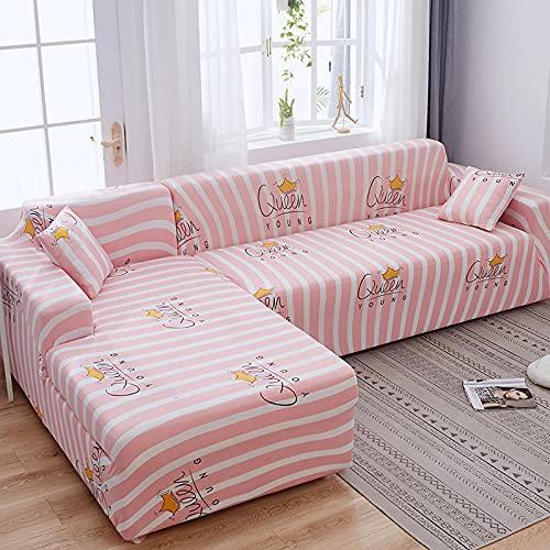 Funda elástica para sofá de 2 plazas, fundas de sofá de poliéster elástico impresas, fundas de sofá de licra y ajuste universal, fundas antideslizantes para muebles, color rosa, corona