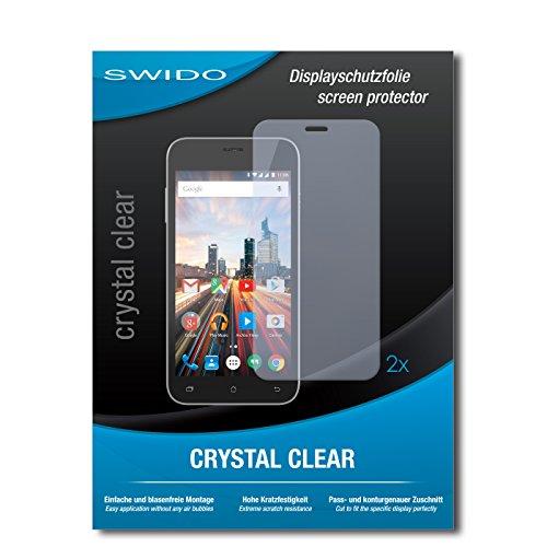 SWIDO Schutzfolie für Archos 50 Helium+ [2 Stück] Kristall-Klar, Hoher Festigkeitgrad, Schutz vor Öl, Staub & Kratzer/Glasfolie, Bildschirmschutz, Bildschirmschutzfolie, Panzerglas-Folie