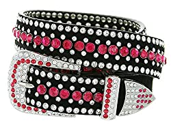 Western Rhinestone Bling Cowgirl Leather Red Belt