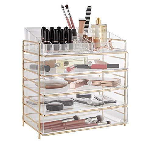 Beautify Kosmetik Organizer – Große Acryl Aufbewahrungsbox/ Make up Ständer/ Kosmetikständer mit 4 Schubladen, 12 Lippenstifthaltern, 3 offenen Ablagen, 4 hohen schmalen Fächern & 1 hohen offenen Fach