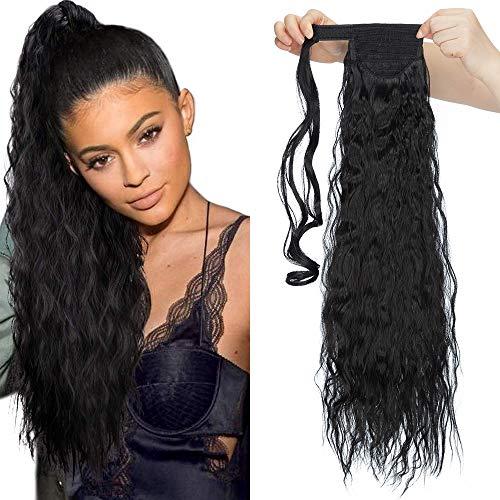 """Ponytail Clip in Pferdeschwanz Zopf Extension Haarteil Haarverlängerung Hair Piece Corn Wavy gewellt wie Echthaar 26\""""(66cm) Schwarz"""