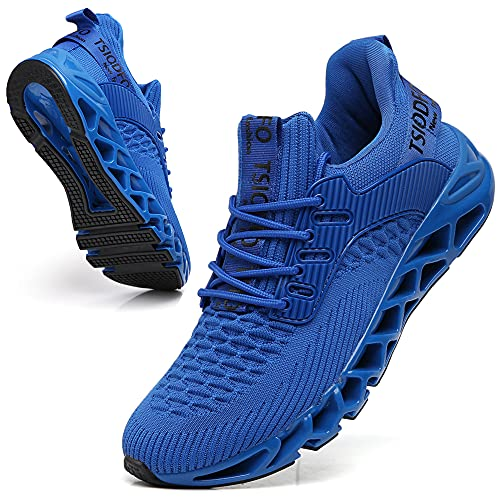 TSIODFO Sneakers for Men Slip on Fashion Casual Sport Running Tennis Athletic Walking Shoes Gym Runner Trail Shoes Non-Slip Jogging Shoe Royal Blue Size 9.5