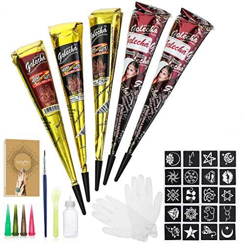 Natürliche Tattoo Sticker, Luckyfine Temporäre Tätowierung Kit, mit 20 x Tattoos Paste Schablone, 1 X Kleine Bürste/Kunststoffschaber, 4 X Kunststoffdüse, Schwarz/Brown/Rot 25g X 5