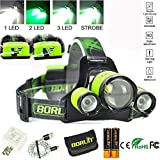BORUIT Upgrade Rechargeable Zoomable Headlamp, 4 Modes 5000 Lumen...