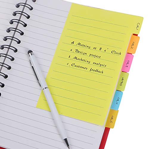 Eagle Divider Sticky Notes, Ruled Notes , 4 x 6-Inches, Assorted Neon Colors (2-Pack 120 Sheets)