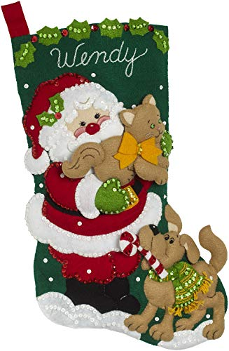 Bucilla Santa's Best Friends Felt Applique Kit