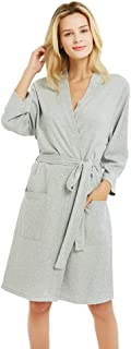 Kimono Bathrobe for Women with 3/4 Sleeves, Lightweight Cotton Short Robe Ladies Longewear for SPA Bathing Wedding