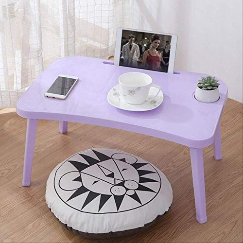 Breakfast Serving Bed Trays Adjustable Foldable with Flip Top and Legs Computer Desk Stand Folding Laptop Table Notebook Desk Purple