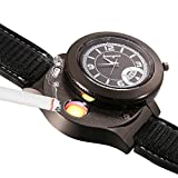 JewelryWe Novelty Quartz Wrist Watch with USB Electronic Rechargeable Windproof Lighter for Watch Men (Black)