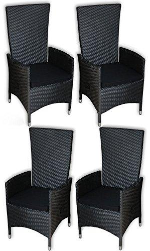 KMH®, 4er Set Polyrattan Hochlehner Tjorben schwarz incl. Kissen (stufenlos verstellbare Rückenlehne - 4 String) (#106251)