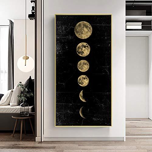 LYHNB Eclipse de la Luna de Gran tamaño, Cuadro de Arte de Pared, Lienzo Minimalista, póster,...