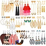 45 Pairs Fashion Drop Earrings Set for Women Girls Gold Dangle Earrings with Bohemian Tassel Leather Acrylic Butterfly Boho Jewelry for Halloween/Birthday/Party/Christmas Gifts