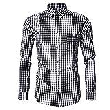 Camisas de Manga Larga a Cuadros para Hombres Camisa Casual Camisas de Vestir de Manga Larga de Corte Regular Camisas con Botones para Fiesta de graduación y Bodas XL
