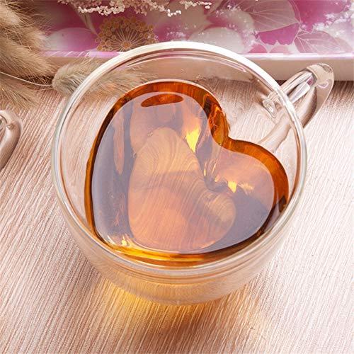 Hart-liefde gevormde dubbelwandige glazen beker Resistant Kungfu-thee-beker melk citroensap Cup drinkbeker liefhebbers koffiekopjes beker-cadeau 240ML