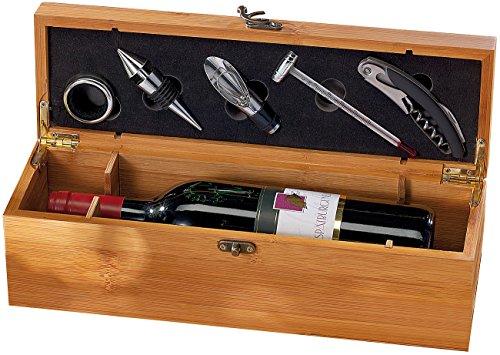Carlo Milano Vino Pacco Regalo: Set Sommelier 5 Pezzi in Elegante Confezione Regalo per 1 Bottiglia di Vino (Bottiglie di Vino Copertina)