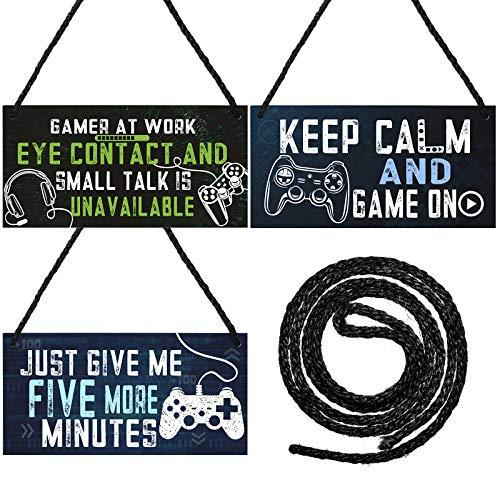 Set de 3 Letreros de Puerta de Juegos Cartel Colgante de Juego Divertido de Five Minutes con Cuerda de Yute para Decoración de Dormitorio Sala de Estar Habitación de Niños