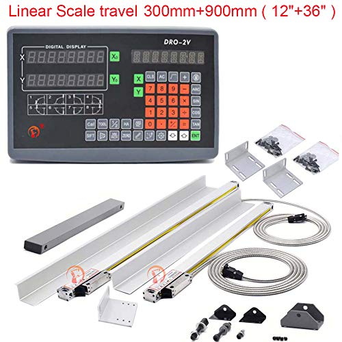CNC Lathe DRO Kit, 12' 36' 2 Axis Digital Readout Display TTL Linear Glass Scales 5um Milling Machine Linear Encoder with Accessories 300mm+900mm,DHL 4-7 DAYS