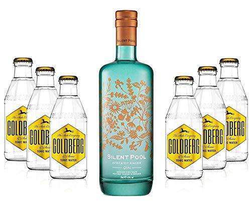 Mixcompany Gin Tonic Set - Silent Pool Gin (43% Vol) + 6x Goldberg Tonic Water 0,2l MEHRWEG inkl. Pfand Gin Tonic Bar- [Enthält Sulfite]