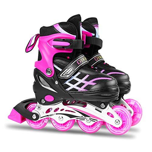 Roeam Inline-Skates, Einstellbare Inline-Skates mit Leuchtenden Rädern, Abriebfeste PU-Räder und ABEC-7-Lager für Kinder und Jugendliche, 27-41