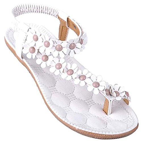 Minetome Damen-Sandalen, Sexy, für den Sommer, Boho-Stil, mit Blumen und Perlen, Flip-Flops, Flach Gr. 6, weiß