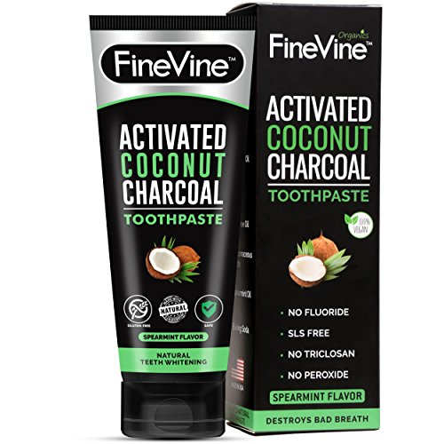 100% Natural Charcoal Teeth Whitening Toothpaste  Charcoal Toothpaste Made in USA  Acti-vated Charcoal Toothpaste for Healthy Gums & Pearly Whites  Organic Vegan Coconut Char-coal Toothpaste Whitening