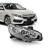 Fits 2016-2020 Honda Civic EX/EX-T/LX/EX-L/LX-P/DX [Halogen Type] Tube Projector Headlight Right Passenger