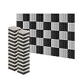 Arrowzoom 48 Panels absorción de sonido Pirámide Espuma acústica Absorcion aislamiento acustico auto extinguible 25x25x5cm Negro & Gris