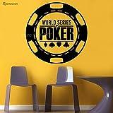 woyaofal Wandaufkleber World Series Poker Runde Chips Karten Muster Vinyl Aufkleber Anzüge Casino Glücksspiel Unterhaltung Removable 57x57 cm