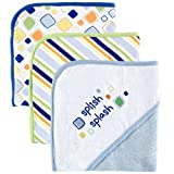 Luvable Friends Unisex Baby Cotton Terry Hooded Towels, Blue, One Size