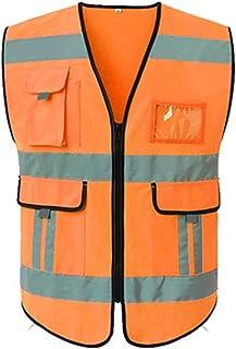 YUFENGBAIHUODIAN Gilet de sécurité avec Poches Haute visibilité Vest réfléchissant Hi Vêtements de Travail Vêtements de Tr...