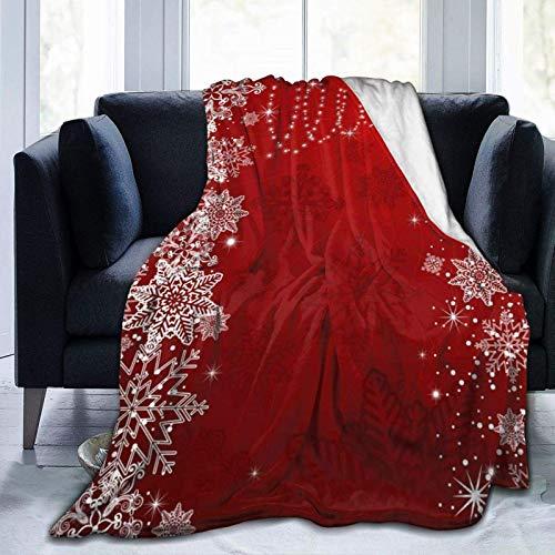 256 coperta stampata con albero di Natale rosso fiocco di neve invernale leggera super morbida coperta in micropile per divano letto soggiorno divano sedia 152,4 x 127 cm