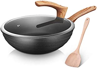 Kitchen Cookware Wok, Stainless Steel Wok/Uncoated Pot - 30/32cm Caliber,Cool Wooden Handle Pan,Suitable for All Hobs Incl...
