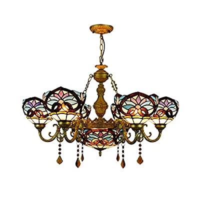 """BAYCHEER Victorian Tiffany Lamp 7 Lights Stained Glass Dome Chandelier 32.68"""" Victorian Pendant Light Hanging Lamp Chain Adjustable Gorgeous Lighting in Blue"""
