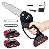 Mini Chainsaw - MagicFox 6-Inch Cordless Power Chain Saws, Portable 36V Battery Chainsaw, 1.1KG One Hand Electric Chainsaw for Garden Bush Tree Branch Pruning Shears Wood Cutting (Black)
