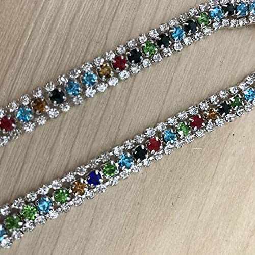 DS-14656 Blue Green Max 86% OFF Black Yellow Mix Trim Beaded Color San Antonio Mall Sew Chain
