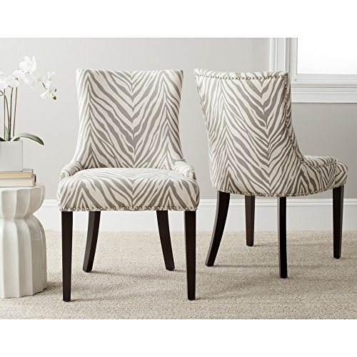 Safavieh Mercer Collection Lester Dining Chairs, Zebra Grey, Set of 2