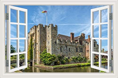 Etiqueta de la pared de la ventana 3d Torre del castillo europeo Edificios históricos arquitectura paisaje papel pintado pvc poster decal art mural dormitorio decoración del hogar