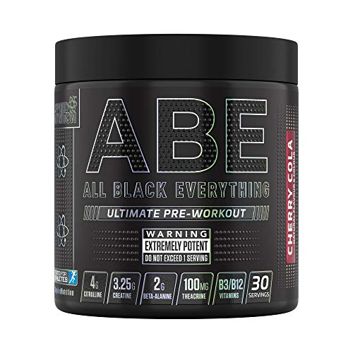 Applied Nutrition ABE - All Black Everything Pre Workout Energy, Increase Physical Performance with Citrulline, Creatine, Beta Alanine, Caffeine Vitamin B Complex, 315g, 30 Servings (Cherry Cola)