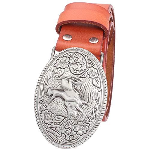 WDYDDW Cinturón Hombre Cinturón De Piel De Vaca para Hombres Cowboy Bull Riding Western Cowboy Style Belt Bareback Bull Rider Pattern Belt para Hombres Regalo De Cumpleaños, como Se Muestra, 125Cm