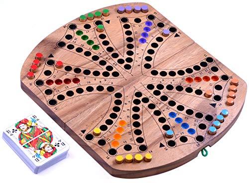 LOGOPLAY Tock für 4 oder 6 Spieler - Gesellschaftsspiel mit Spielkarten - Brettspiel aus Holz mit zusammenklappbarem Spielbrett