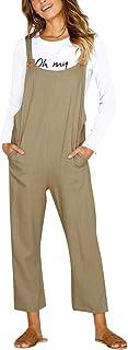 CNFIO Pantalones Mujer Casual Ajustable Correa Monos Rompers Flojo Retro Harem Mamelucos Jumpsuits Overalls con Bolsillo I...