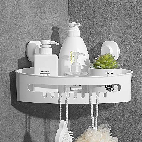 Luxear Eckregal mit Saugnapf Ohne Bohren, wasserdichte Badezimmer Duschablage zum hängen, Duschregal Duschkorb Badregal mit Ablauföffnungen für Shampoo, Ölbeständige Küchen Organizer, Tragkraft 10 KG