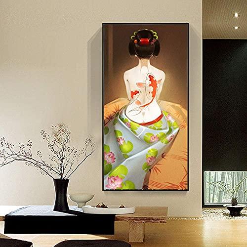 Equipo de vida Pintura Lienzo Mural Pintura decorativa Sushi japonés Tatami Ukiyo-e Pinturas Pintura decorativa para mujer (40 * 80 cm) Mural