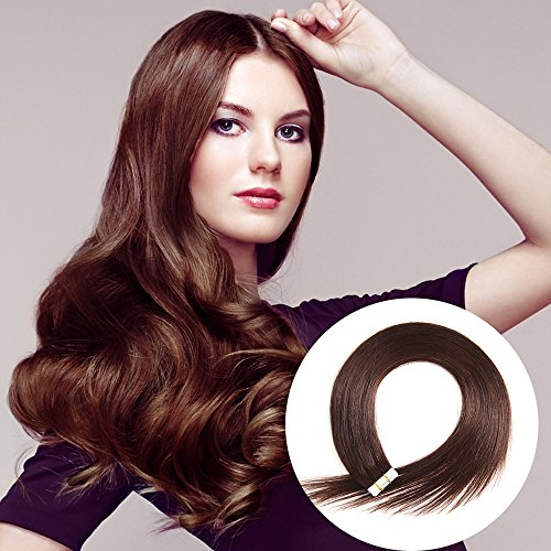 Tape in Human Hair Extensions 16 inches 20pcs 40g Silky Straight Remy Tape Hair Extensions #2 Darkest Brown
